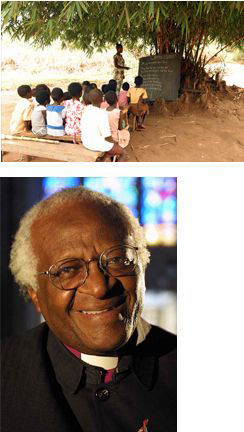 Children in outdoor classroom and Bishop Desmond Tutu
